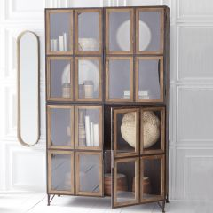 4 Door Modern Farmhouse Tall Display Cabinet | SHIPS FREE