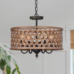 4 Light Rattan Basket Pendant