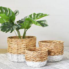 Two Tone Hyacinth Basket Set of 3