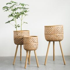 Round Bamboo Baskets on Stands Set of 3
