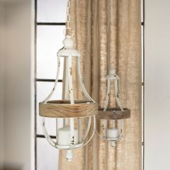 Hanging Farmhouse Candle Lantern Set of 2