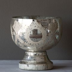 Decorative Etched Mercury Glass Compote