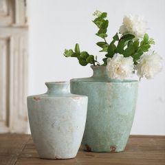 Weathered Grace Terracotta Vase Short