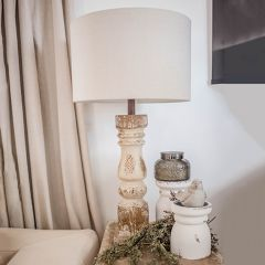 Distressed Table Lamp With Neutral Shade Set of 2