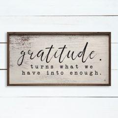 Gratitude Whitewash Framed Sign