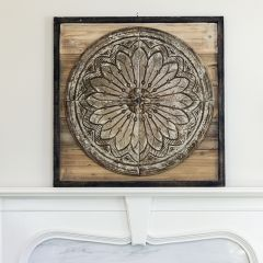 Square Wood and Embossed Tin Wall Decor