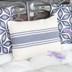 Cotton Canvas Pillow With Blue Stripes