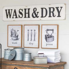 Embossed Metal Wash and Dry Sign