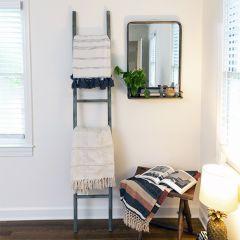Decorative Iron Leaning Ladder Rack