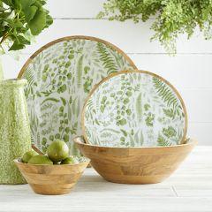 Fern Print Enameled Wood Plates Set of 2