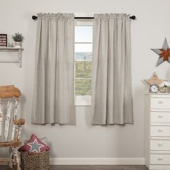 Ticking Stripe Seersucker Short Curtain Panels Set of 2