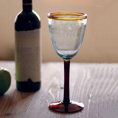 Amber Rimmed Wine Glass Set of 2