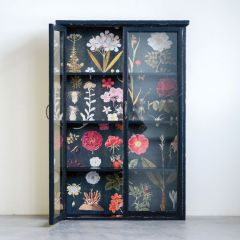 Dark Wood Cabinet With Floral Backing