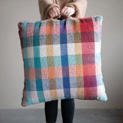Colorful Cotton Plaid Floor Pillow