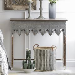 Scalloped Edge Metal Table With Wood Top