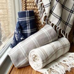 Windowpane Plaid Blanket Navy/White