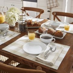 Tan and White Check Placemats Set of 4