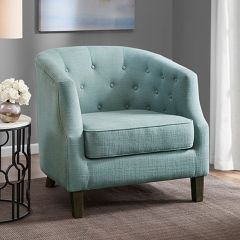 Button Tufted Barrel Back Accent Chair