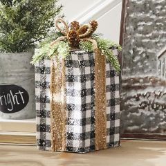 Checked Present Holiday Decor Set of 2