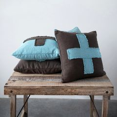 Embroidered Swiss Cross Slub Pillows Set of 2