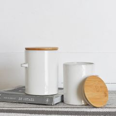 Simple Farmhouse Lidded Ceramic Canisters Set of 2