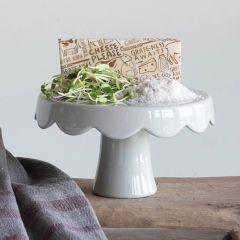 Scalloped Stoneware Cake Pedestal