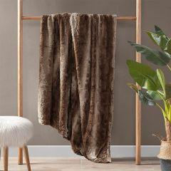 Faux Fur Farmhouse Throw Blanket Tan
