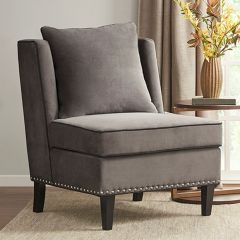 Armless Upholstered Cushioned Accent Chair