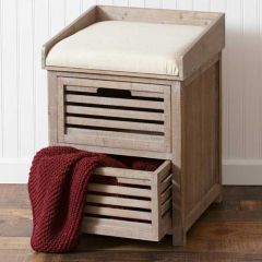 Cushioned Farm Stool With Drawers