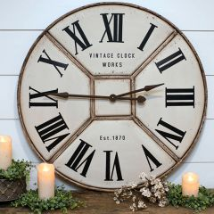 Large Industrial Metal Quartered Clock