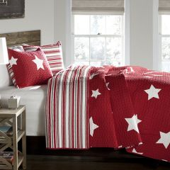 Twin Red Stars Quilt Set