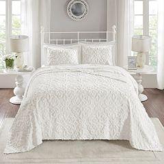 3 Piece Textured Cotton Chenille Bedspread Set