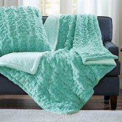 Ruched Faux Fur Throw Blanket Aqua