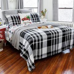 5 Piece Classic Farmhouse Plaid Comforter Set