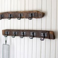 5 Wire Hook Recycled Wood Coat Rack, Set of 2