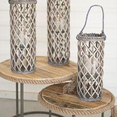 Hanging Willow Candle Lanterns Set of 3