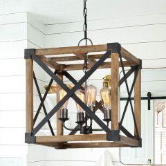 4 Light Square Farmhouse Pendant