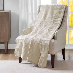 Neutral Scalloped Edge Quilted Throw Blanket