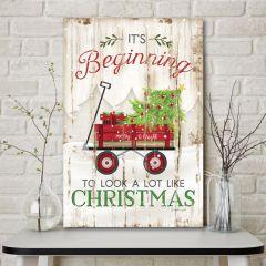 Red Wagon Christmas Sign