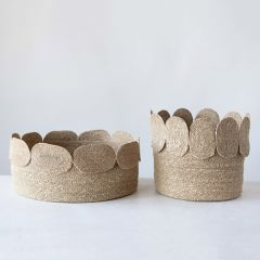 Appliquéd Edge Seagrass Basket Set of 2