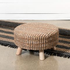 Recycled Leather Round Farmhouse Foot Stool