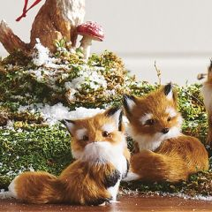 Country Fox Ornament Set of 2