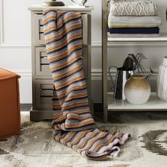 Candy Stripe Multicolor Knit Throw Blanket
