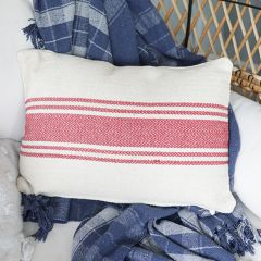 Cotton Canvas Pillow With Stripes