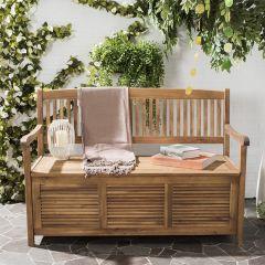 Natural Wood Patio Storage Bench