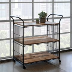 Reclaimed Wood and Metal Rolling Cart