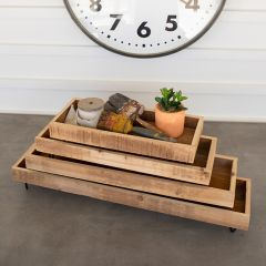 Recycled Wood Footed Planter Tray Set of 4