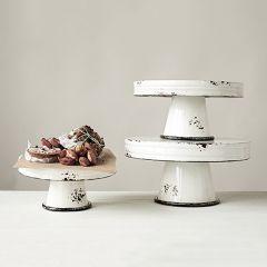 Decorative Metal Pedestal Server Set of 3