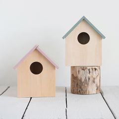 Simple Wood Birdhouse Planter Set of 2