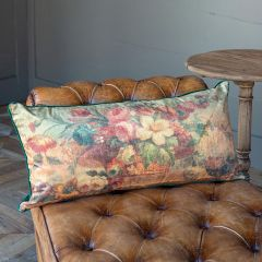 Velvet and Floral Print Accent Pillow